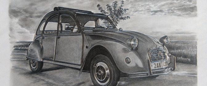 kresba krajina auto citroen kačena