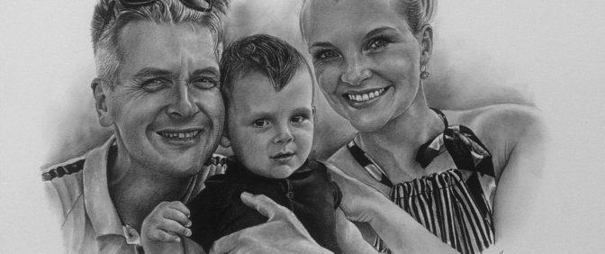 kresba portrét rodina