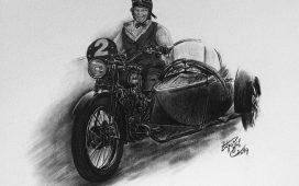 Kresba motorky s dámou